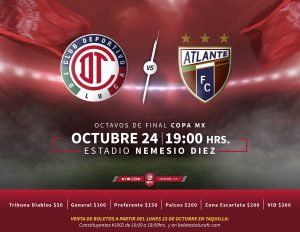 Canal 5 Toluca vs Atlante en Vivo Copa MX 2017