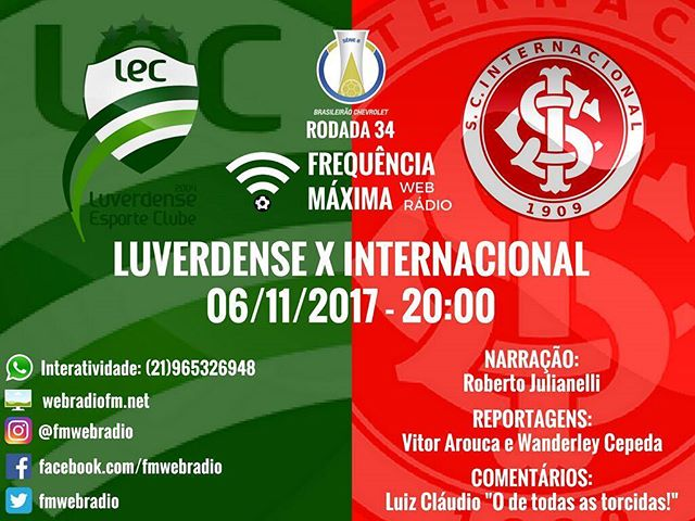 Luverdense vs Internacional en Vivo previo Internacional Sao Paulo