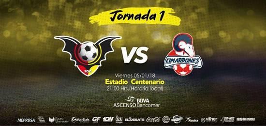Jornada 1 Murciélagos vs Cimarrones en Vivo 2018 Ascenso MX