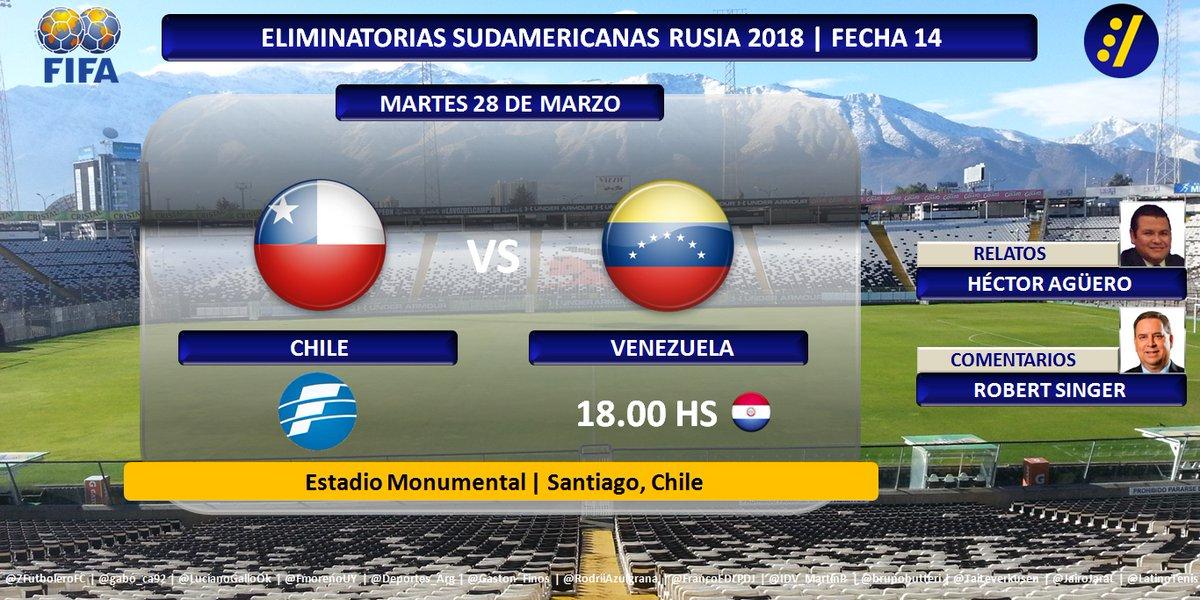 Chile vs Venezuela en Vivo Clasificación Conmebol 2017