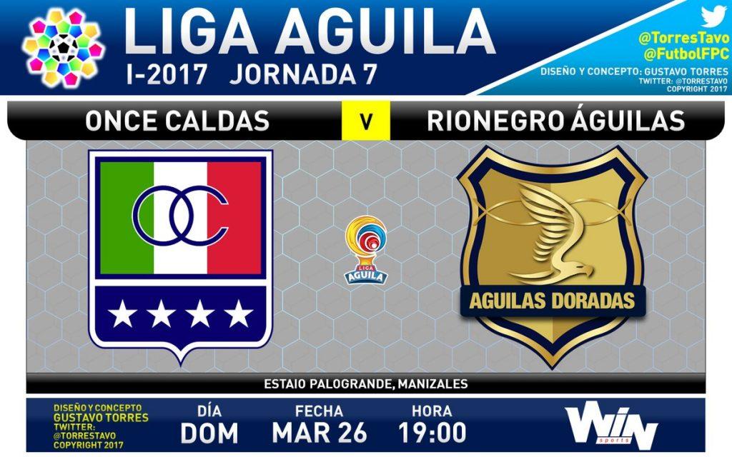 Once Caldas vs Águilas en Vivo Liga Águila 2017