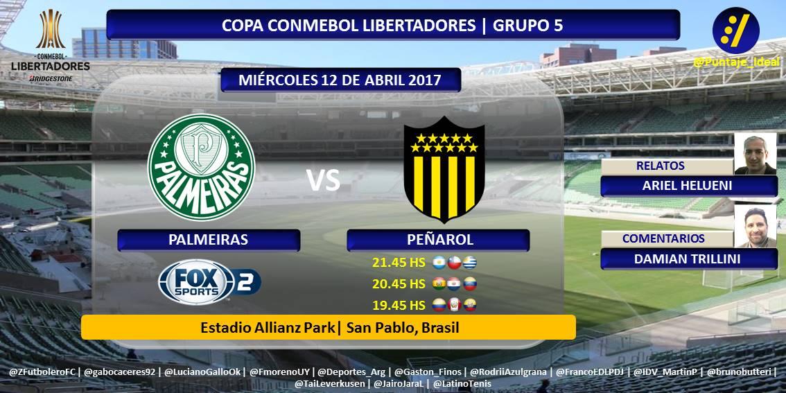 Palmeiras vs Peñarol en Vivo Copa Libertadores 2017