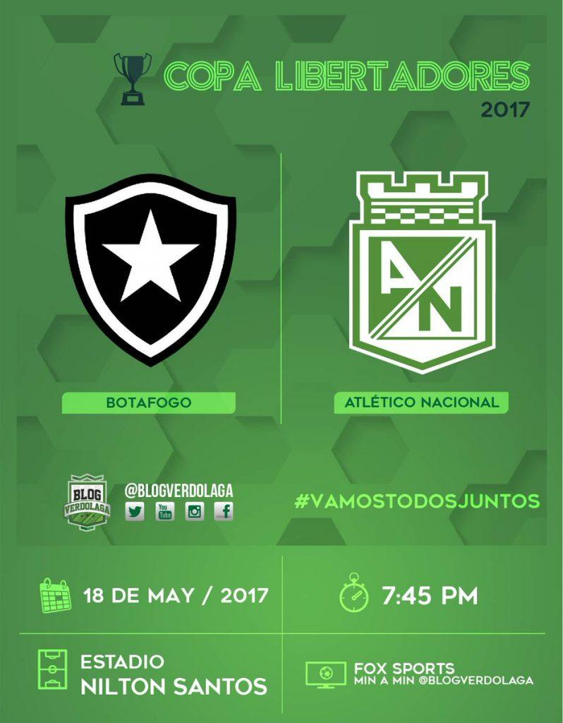 Botafogo vs Atlético Nacional en Vivo Online Copa Libertadores 2017