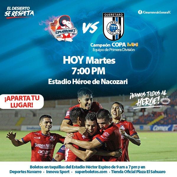 A que hora juega Cimarrones vs Querétaro en Vivo Copa MX 2017