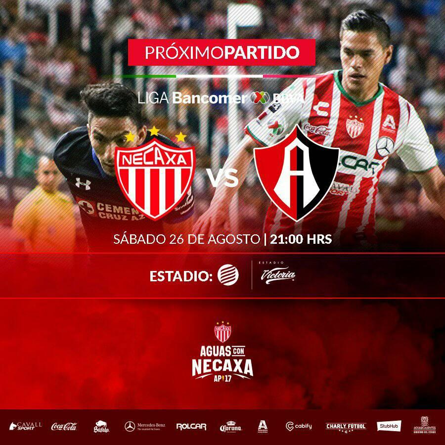 En que canal juega Necaxa vs Atlas en Vivo Liga MX 2017