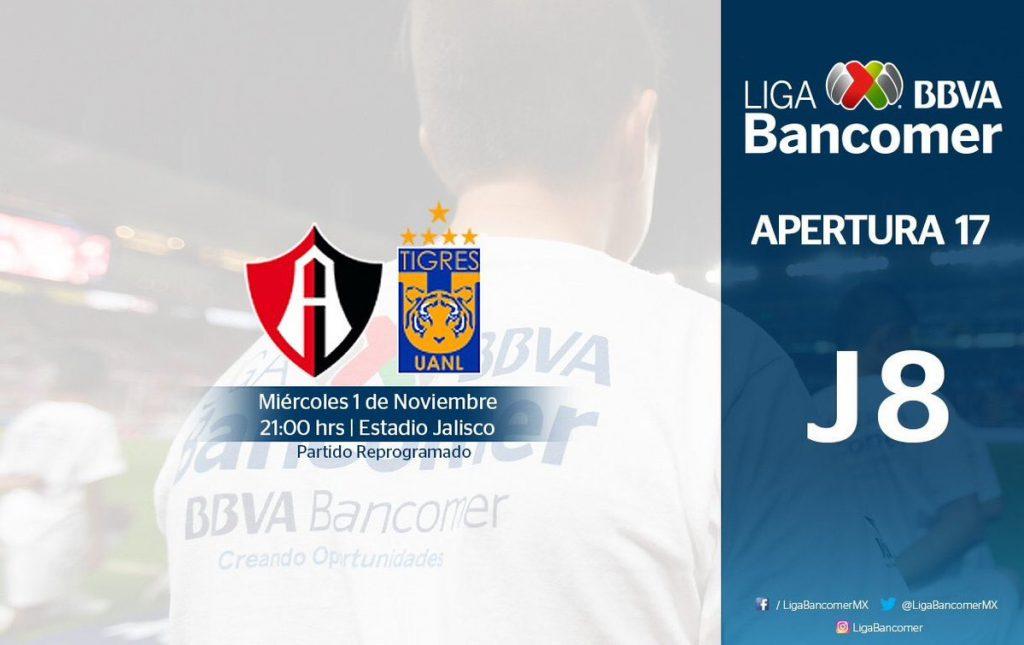 Atlas vs Tigres en Vivo partido pendiente  Liga MX 2017
