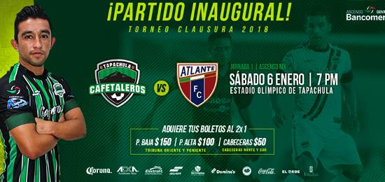 Cafetaleros vs Atlante en Vivo 2018 Ascenso MX