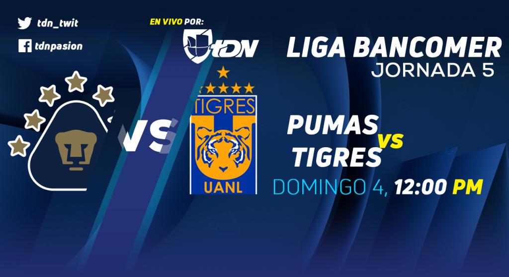 Por TDN Pumas vs Tigres en Vivo Liga MX 2018