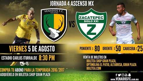 Venados vs Zacatepec en Vivo Online Ascenso MX 2018