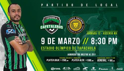 Cafetaleros vs Leones Negros en Vivo Ascenso MX 2018