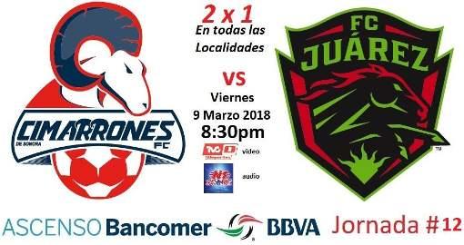 Cimarrones vs Juárez en Vivo Ascenso MX 2018