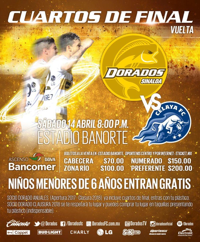 Partido de vuelta Dorados vs Celaya en Vivo Ascenso MX 2018