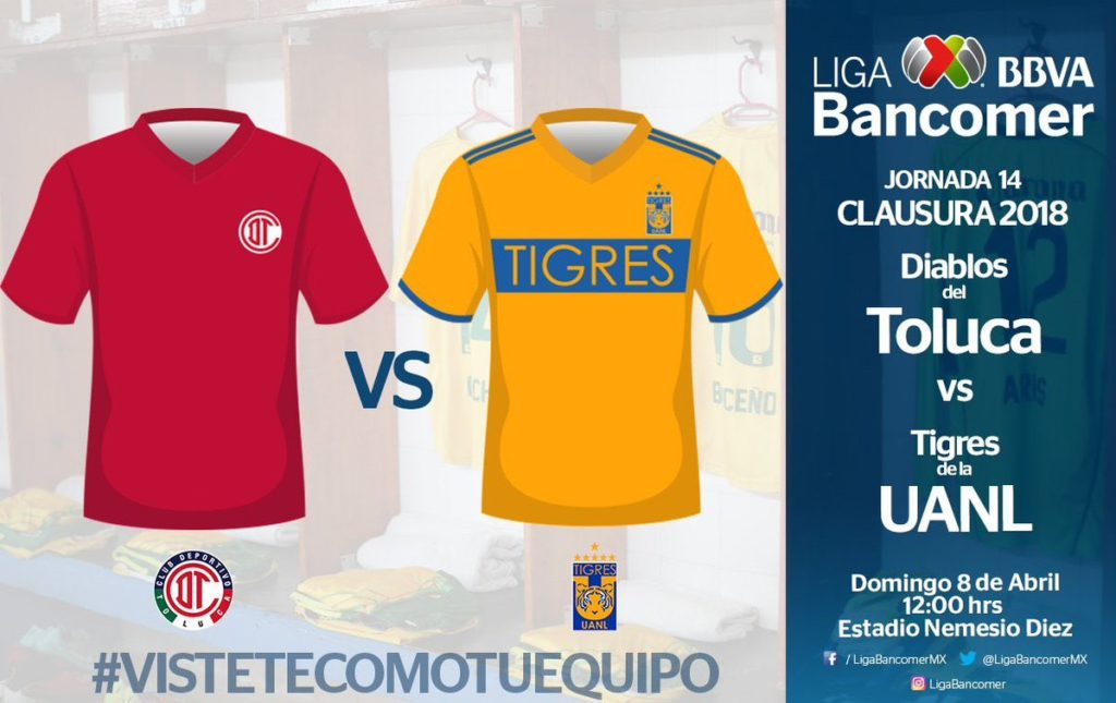 Toluca vs Tigres en Vivo Online Liga MX 2018