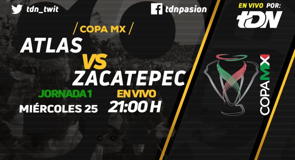 Atlas vs Zacatepec en Vivo por TDN en Internet Copa MX 2018