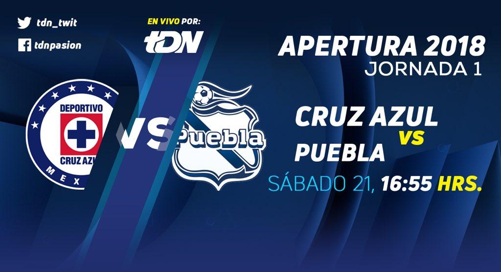 El partido por TDN Cruz Azul vs Puebla en Vivo Liga MX 2018