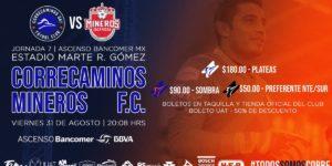 Correcaminos vs Mineros en Vivo Jornada 7 Ascenso MX 2018