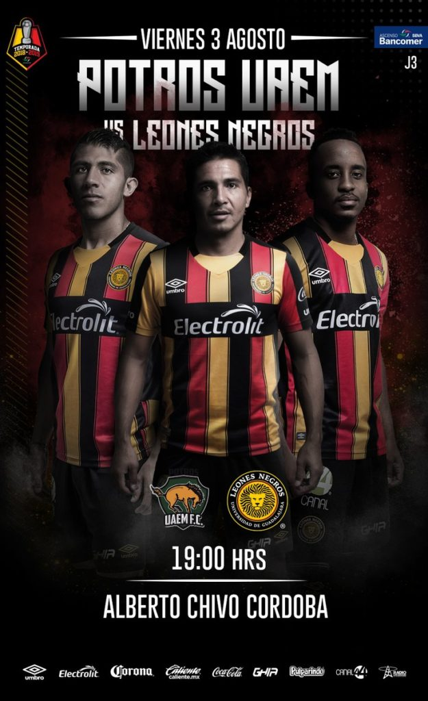 Potros UAEM vs Leones Negros en Vivo TVC Deportes Ascenso MX 2018