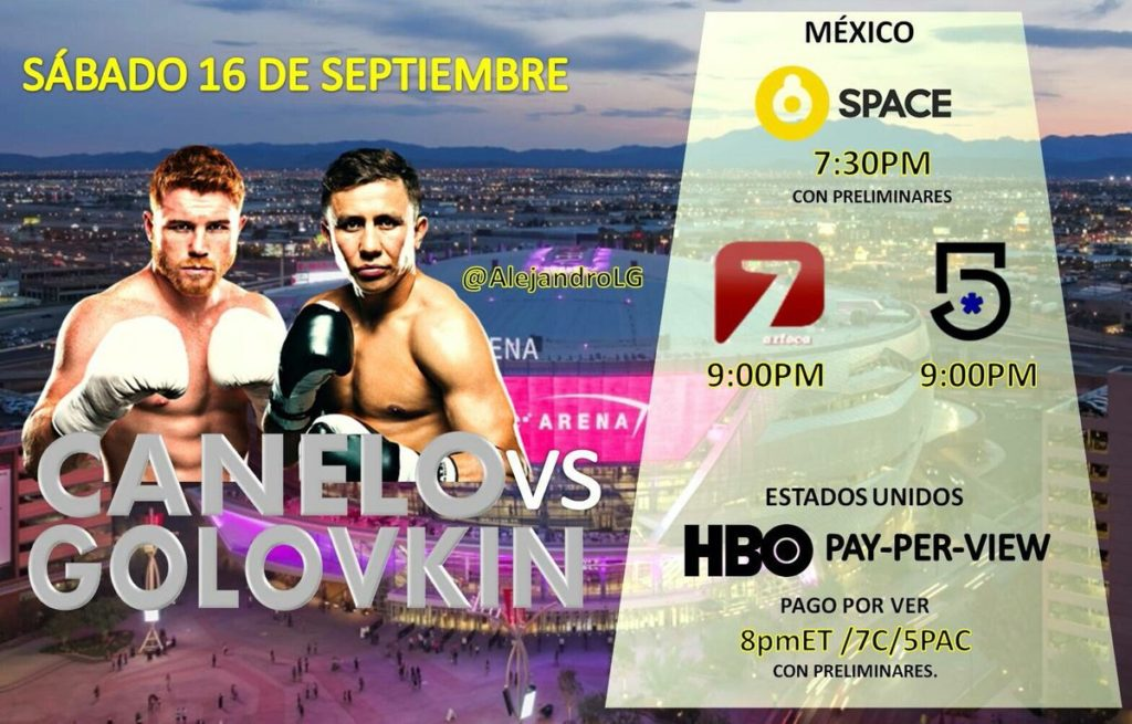 La pelea Canelo vs Golovkin 2018 en Vivo Boxeo