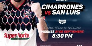 Partido Cimarrones vs Atlético San Luis 2018 Ascenso MX