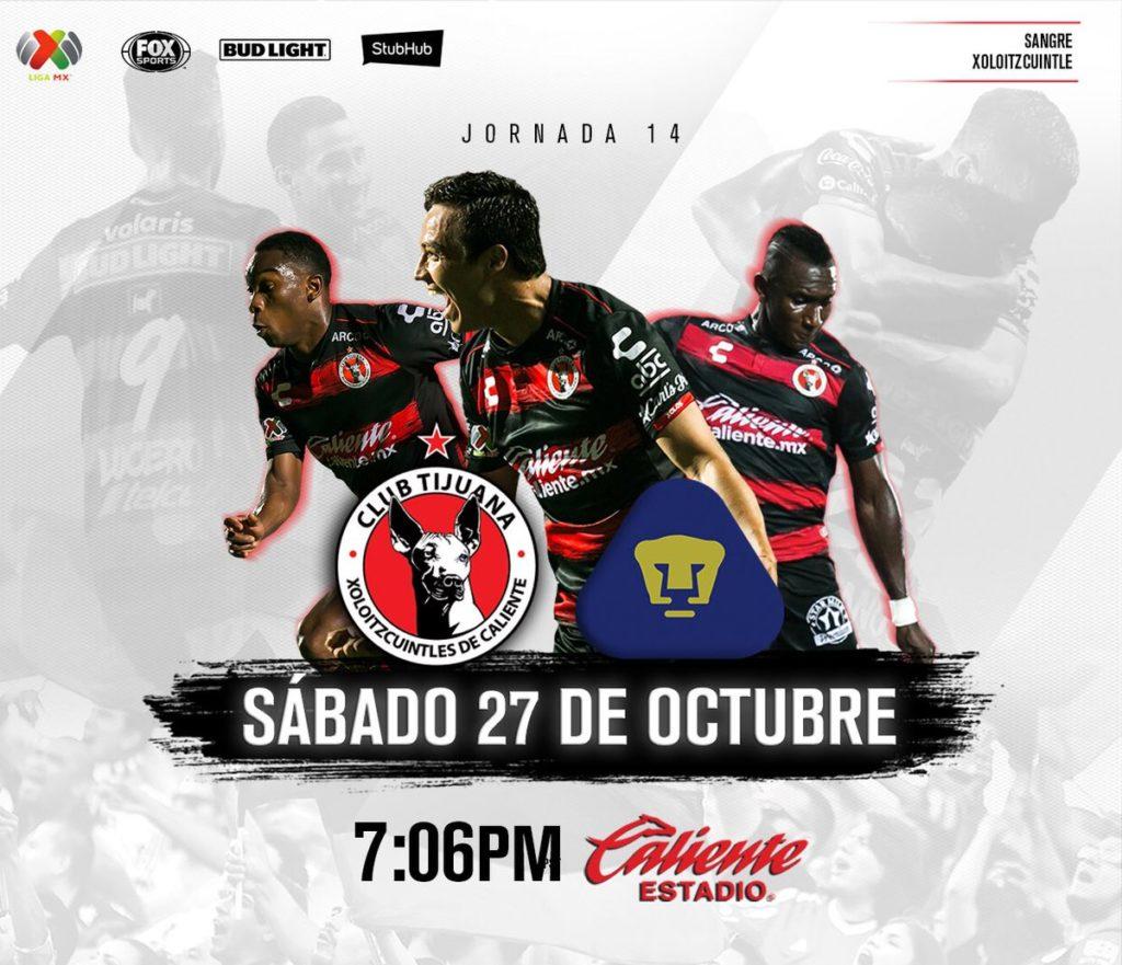 A que hora juega Tijuana vs Pumas 2018 Liga MX