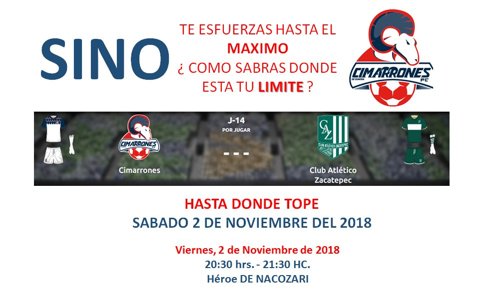 En vivo TVC Deportes Cimarrones vs Zacatepec 2018 Ascenso MX